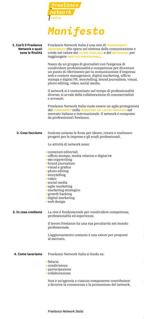 Manifesto Freelance Network Italia