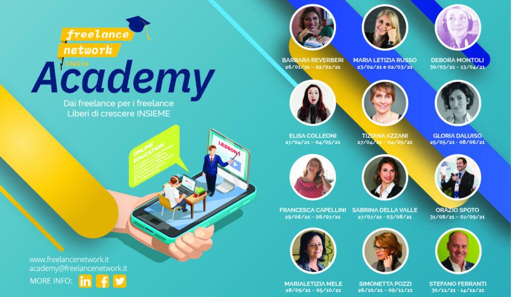locandina Freelance Network Academy_ FLNAcademy 2021 tutti i docenti